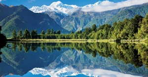 Lake Matheson, Mount Tasman and Mount Cook